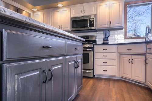 Refinished kitchen cabinets in Moorhead, MN.