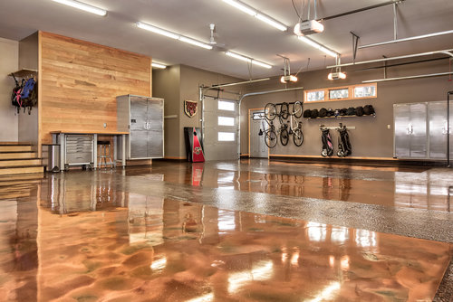 Glossy concrete coating in a garage in Moorhead, MN.