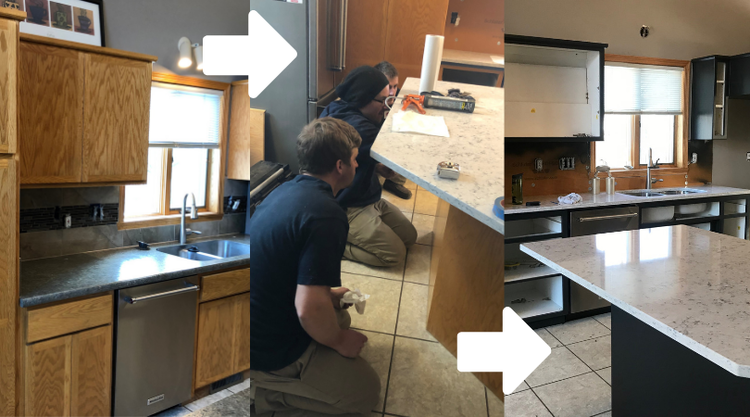 Our unique kitchen cabinet refinishing process in Moorhead, MN.